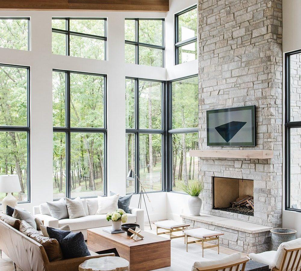 Modern Lake House: Living Room Tour