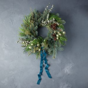 Fresh Winter Frost Wreath with Ribbon