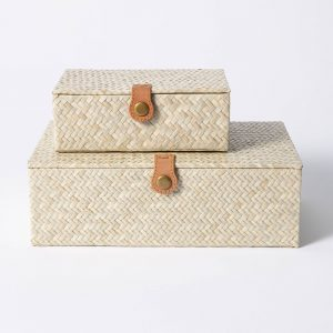 Pandan Zig-Zag Woven Box
