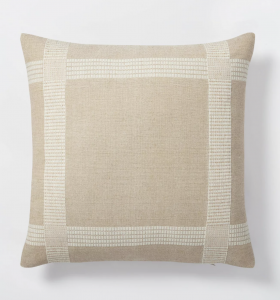 Oversized Woven Cotton Wool Windowpane Square Throw Pillow Brown