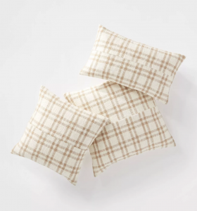 Woven Plaid Throw Pillow with Exposed Zipper Brown/Cream