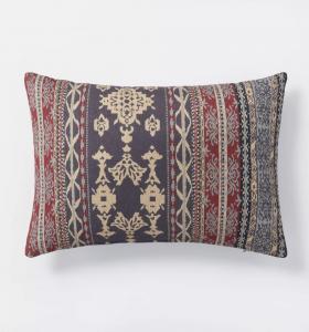 Oversized Woven Pattern Lumbar Throw Pillow Blue/Burgundy