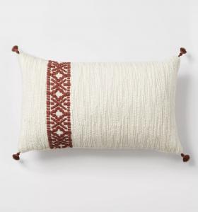 Woven Striped Lumbar Throw Pillow Cream/Rust