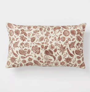 Floral Printed Throw Pillow Rust/Cream