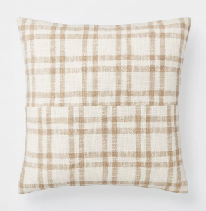 Woven Plaid Throw Pillow with Exposed Zipper