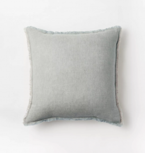 Linen Throw Pillow with Contrast Frayed Edges