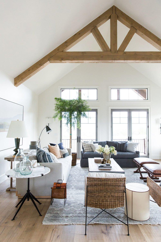 Moody, textured, rustic inspired living room in mountain home in Utah - Studio McGee Design
