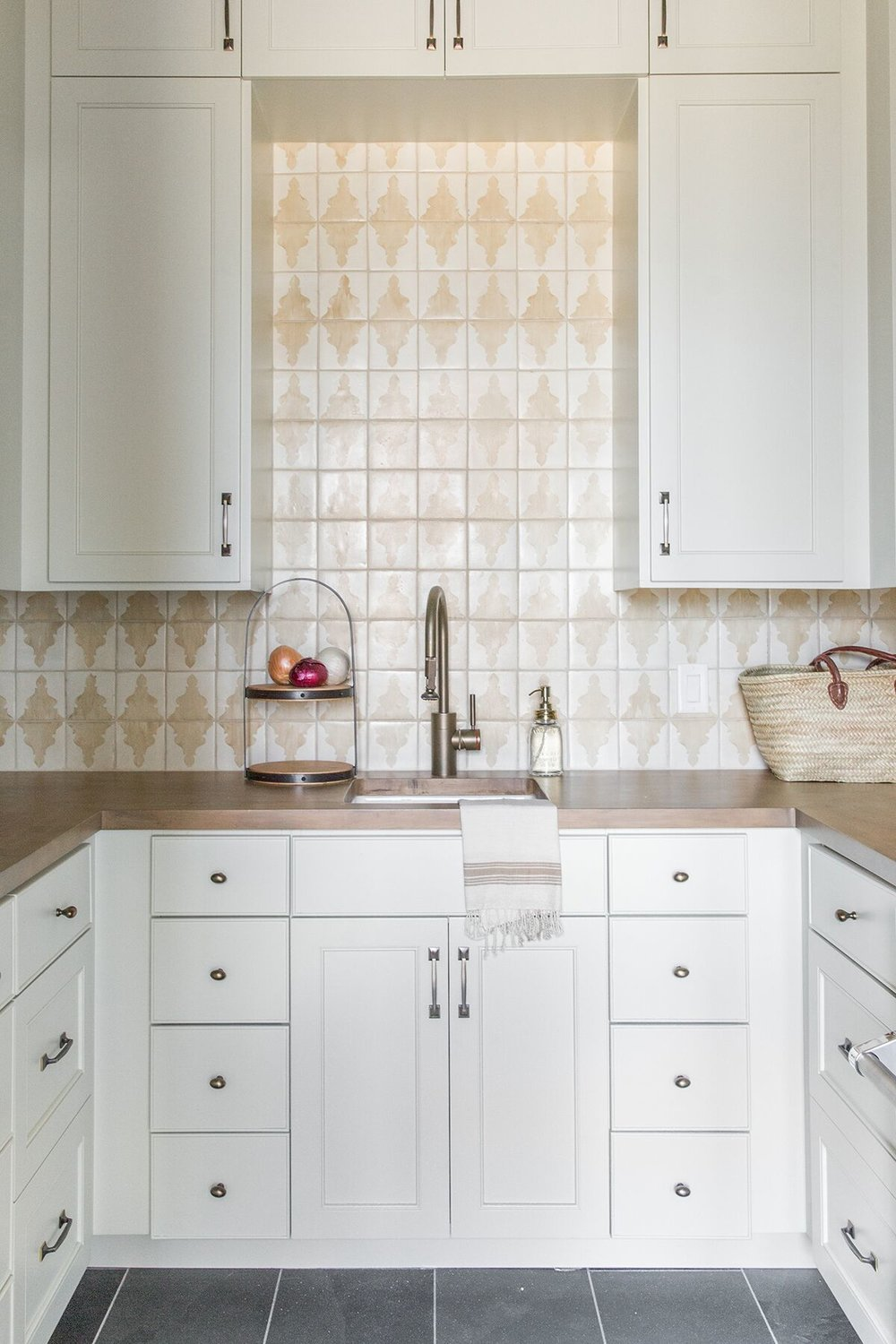 Butlers pantry with with tile and white cabinetry - Studio McGee Design