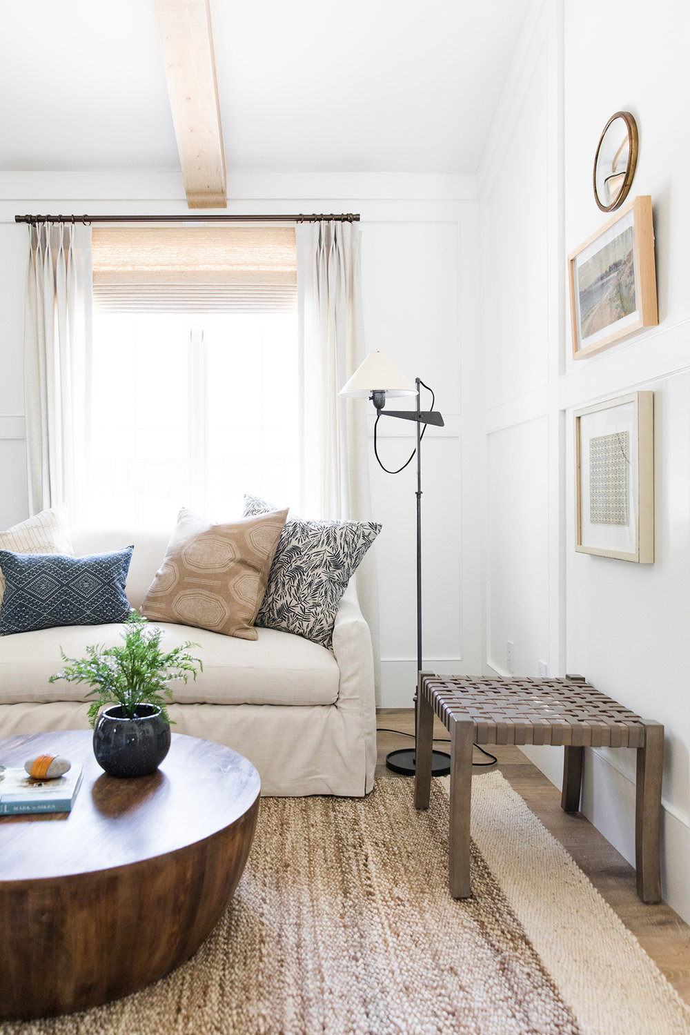 Woven Leather Stool | Sitting Room