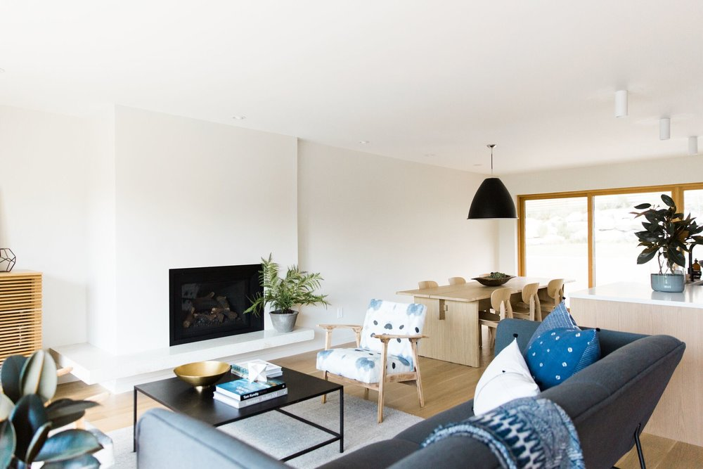 Modern living room accented with natural details