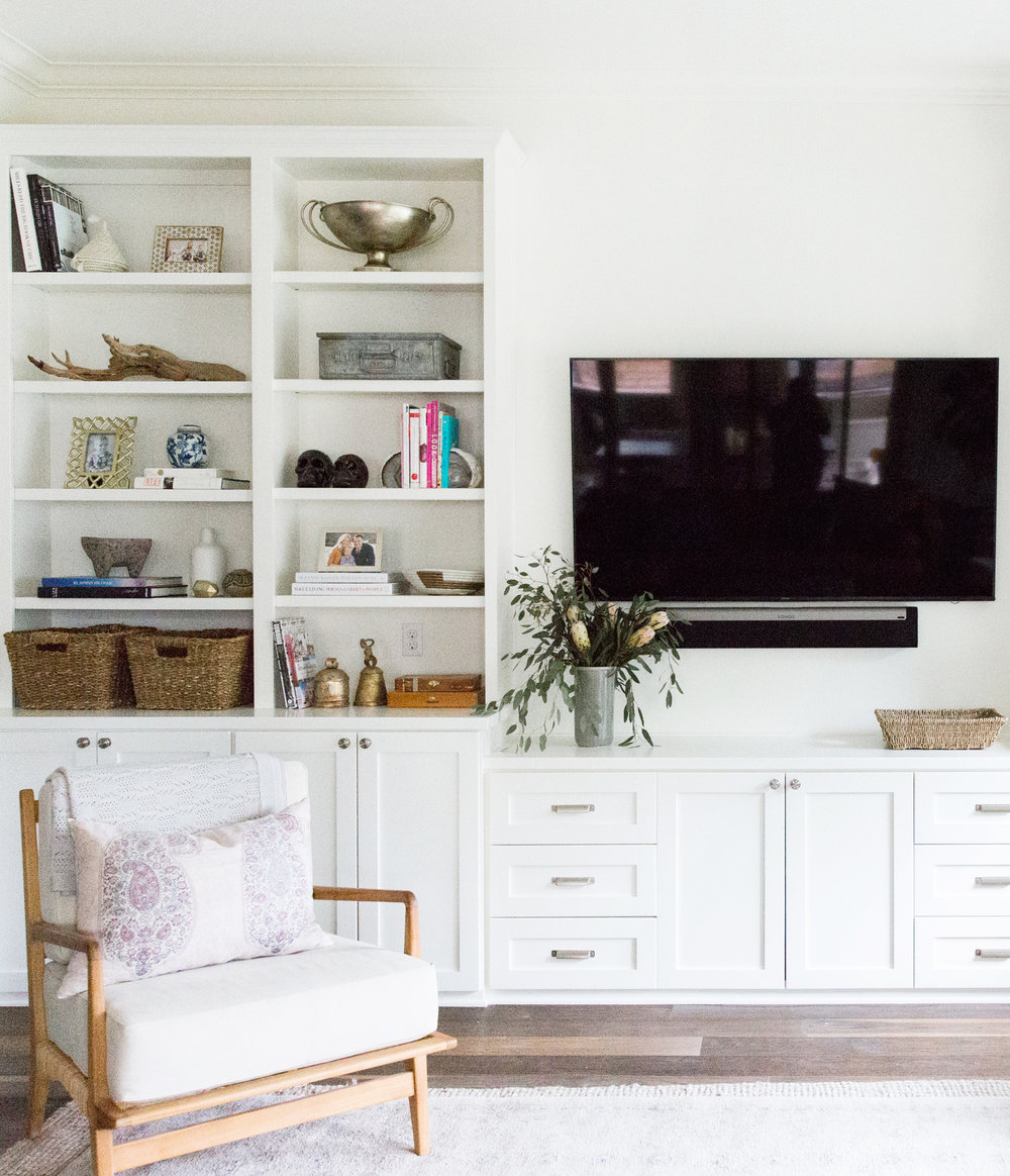 California Bohemian Styled Living Room with Open Shelf Styling
