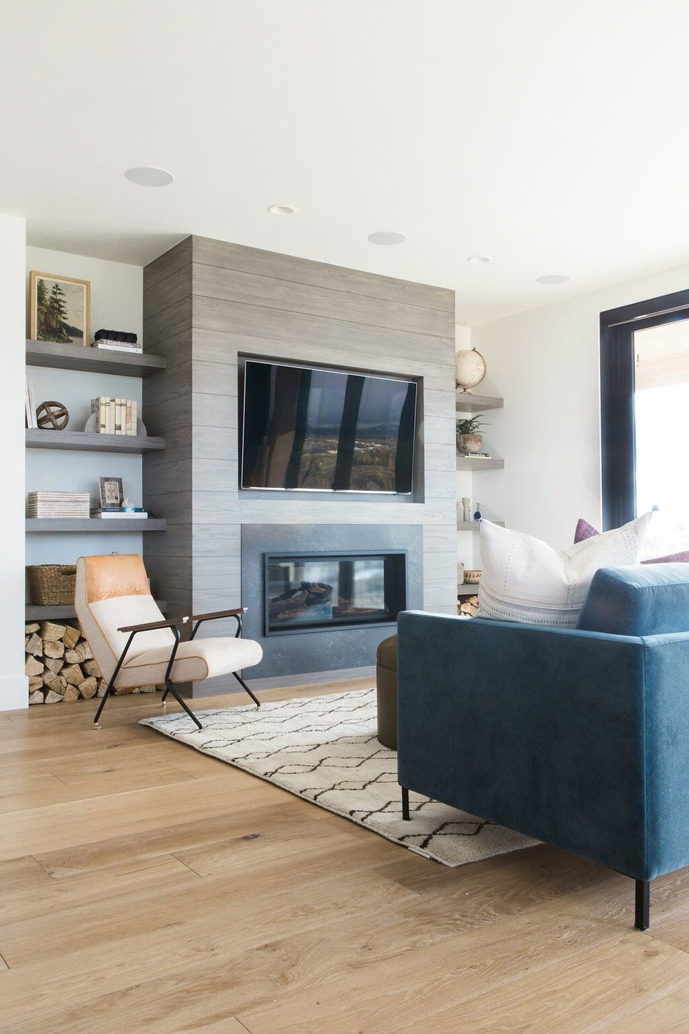 Living room with built-in shelf styling