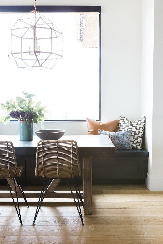 Modern outdoorsy kitchen nook with statement lantern
