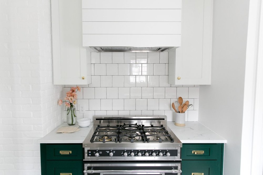 Modern Vintage Kitchen with cabinets in Benjamin Moore's Forest Green.