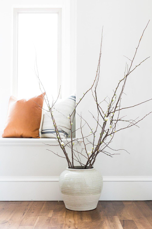 Rivulet Vase ,  French Stripe Pillow ,  Cognac Leather Pillow