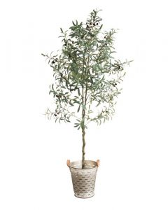 Faux Potted Olive Topiary