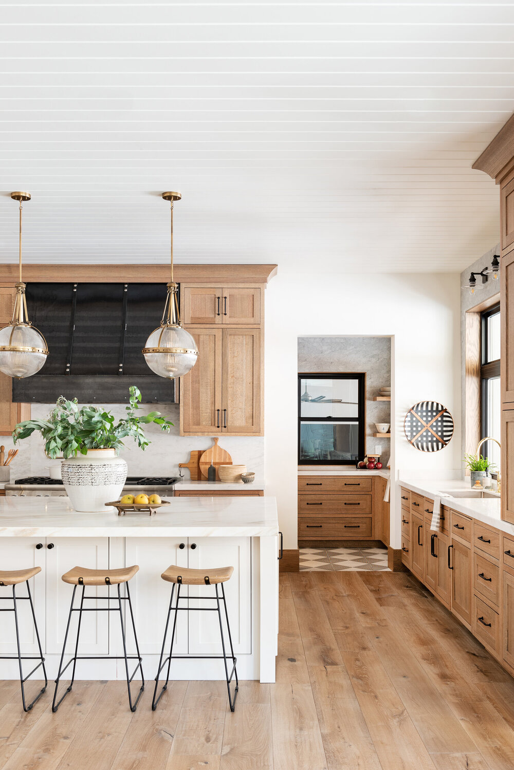 White oak cabinets from a    recent kitchen design.
