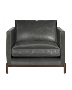 Morrison Wood Base Leather Chair