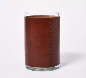 Glass With Leather Vase