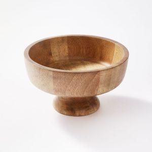 10.1oz Rubberwood Pedestal Serving Bowl