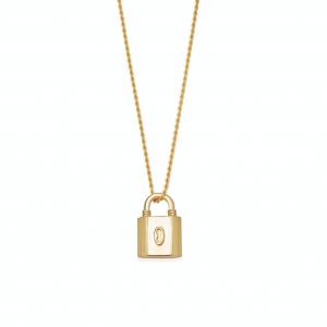 Gold Small Ridge Padlock necklace
