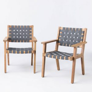 Wood & Strapping Patio Club Chairs