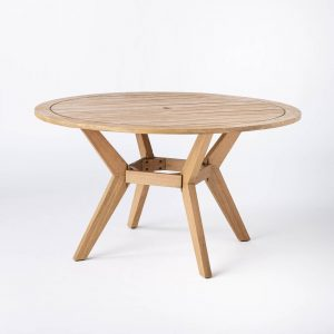 Bluffdale 6 Person Wood Round Patio Dining Table