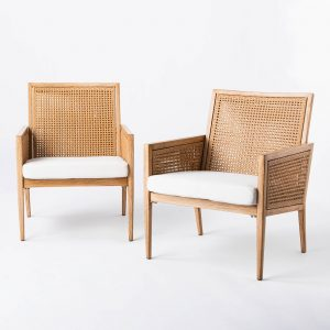Wicker & Faux Wood Patio Accent Chair