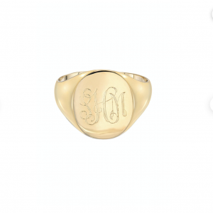 14k gold large signet ring