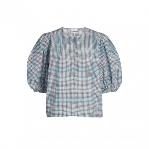 Puff-Sleeve Seersucker Check Blouse