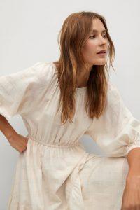 Textured cotton-blend dress