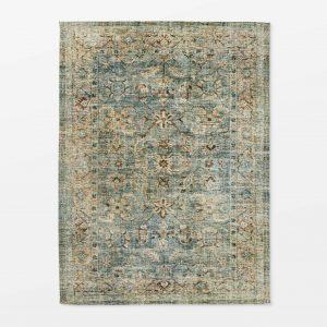 Floral Print Distressed Persian Rug