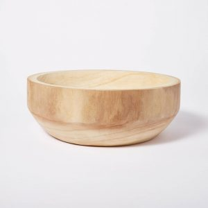Decorative Paulownia Wood Bowl Beige