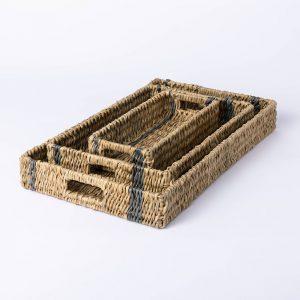 Striped Wicker Tray