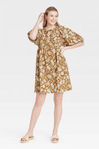 Women's Puff Elbow Sleeve Babydoll Dress