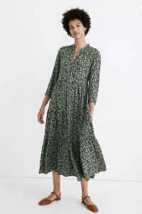 Button-Front Tiered Midi Dress in Fleur Field