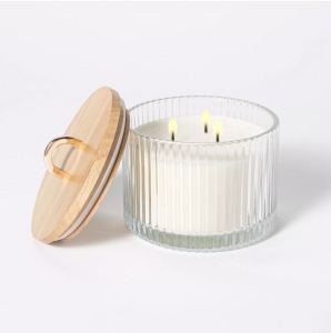 Wood Lidded Ribbed Glass Candle