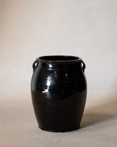 Vintage Black Dual Handled Jar