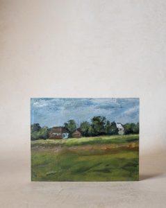 Vintage Hillside Cottages Painting
