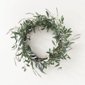 Artificial Olive/Eucalyptus Lavender Wreath