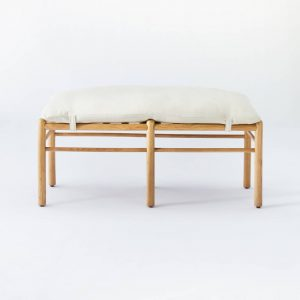 Emery Wood and Upholstered Bench