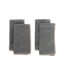 Lace Trimmed Cotton Napkins (Set of 4)