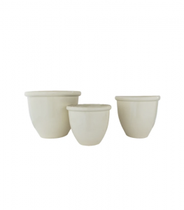 Glossy Cream Garden Pots (Set of 3)