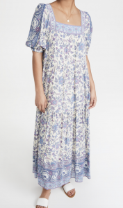 Folk Song Square Neck Gown