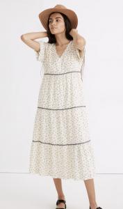 Rickrack Short-Sleeve Tiered Midi Dress in Spring Fling