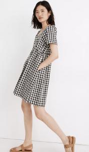 Linen-Blend Allie Mini Dress in Gingham Check