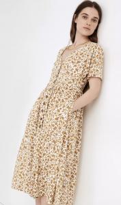 Button-Front Midi Dress in Batik Vine