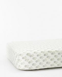 Green Floral Crib Sheet