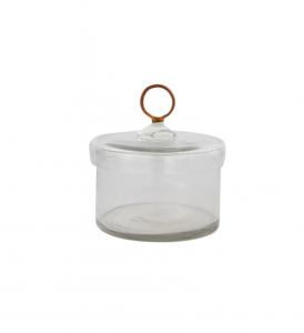 Amber Glass Handle Jar