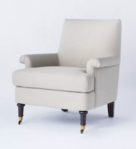 Mercer Rolled Upholstered Armchair with Casters
